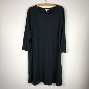 J. Jill Ponte Dress Solid Black Crewneck Stretch